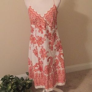 Ann Taylor Sundress In White And Orange